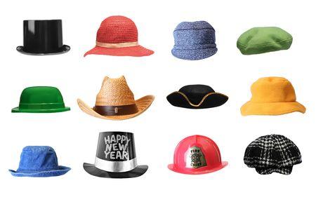 Variété de chapeaux, isolé sur blanc. Banque d'images