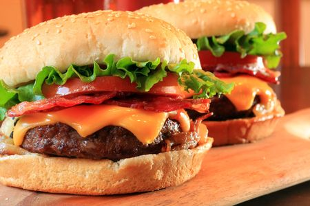 Juicy bacon cheeseburgers photo