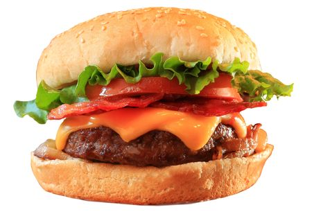 Bacon cheeseburger, isolated on white. Stock Photo - 3355653