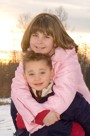 Cute kids, siblings, outside in winter. Stock Photo - 3546934