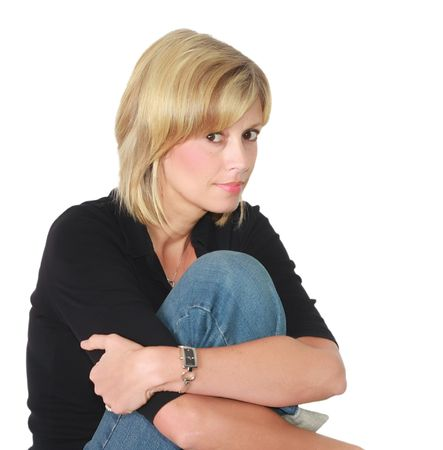 Blond woman in relaxed pose.