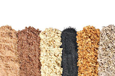 zonnebloem kiemen: Volkorengranen, haver, vlas, papaver, wheatgerm, Granola, zonnebloempitten.