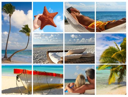 Tropical beach collage photo