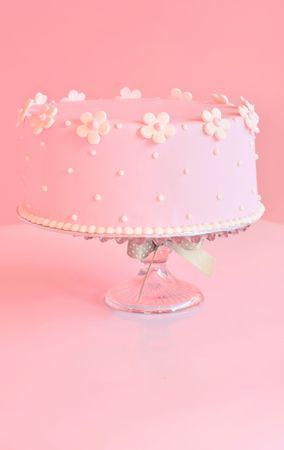 Beautiful pink birthday cake. Stock Photo
