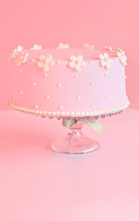 strawberry: Beautiful pink birthday cake. Stock Photo