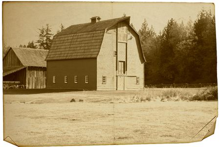 Weather old photograph of an old barn. Stock Photo - 4562953