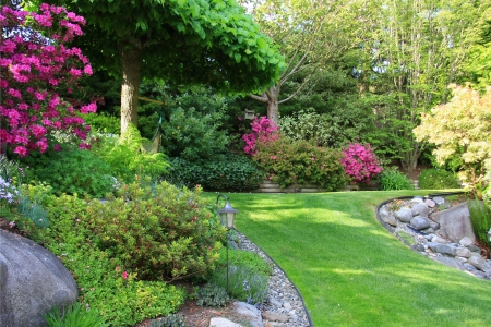 manicured: Beautiful park garden in spring.