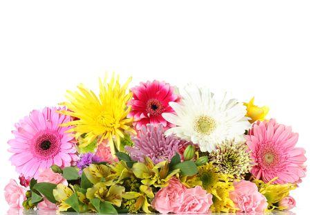 Fresh vibrant flower border.  Stock Photo