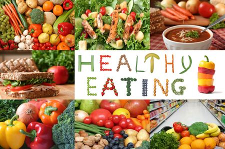 saludable: Collage de la alimentaci�n saludable.