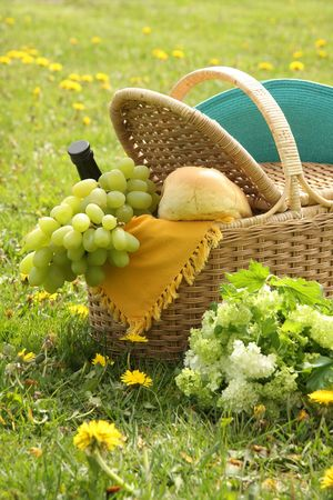 Picnic basket with bread, wine, grapes and flowers.  Stock Photo - 4718360