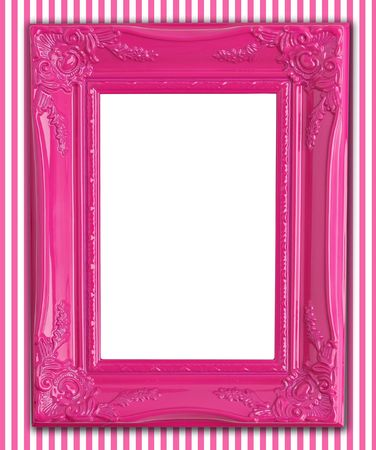 Pretty pink picture frame on pink striped wallpaper.  photo