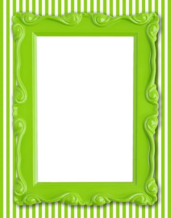 Pretty green picture frame on a striped wallpaper background. Stock Photo - 4870555