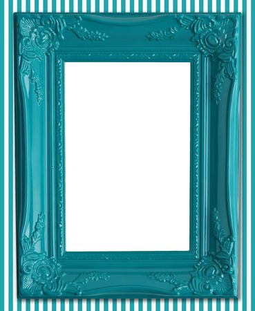 Contemporary blue picture frame on a striped wallpaper background.  Stock Photo - 4870556
