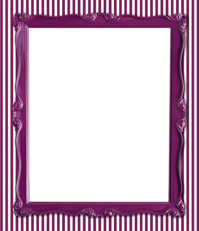 Pretty purple picture frame on a striped wallpaper background.