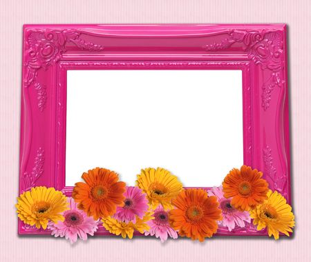 Pretty pink picture frame decorated with flowers.  photo