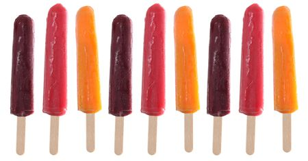 popsicles: Fruit popsicles in raspberry, orange and grape.