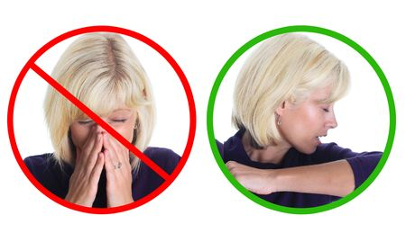 Please sneeze into your sleeve, not your hands!  Stock Photo - 5332839