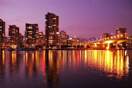 inlet bay: Beautiful Vancouver skyline, home of the 2010 winter sports competitions. Stock Photo