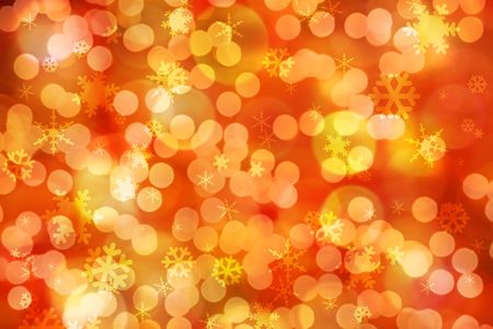 festive: Sparkling festive background of golden Christmas lights and snowflakes. Stock Photo