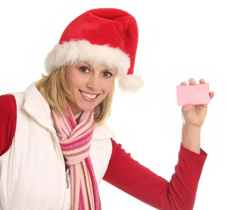 Smiling Santa lady showing gift or credit card. Stock Photo - 5965538