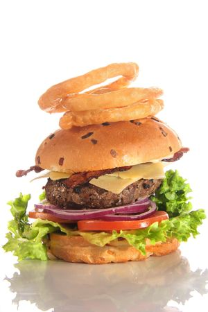 Cheeseburger with bacon and onion rings photo