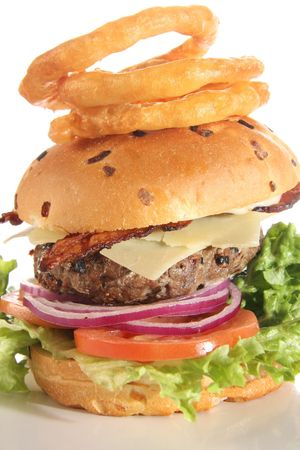 Gourmet Cheese Burger isolated on white.