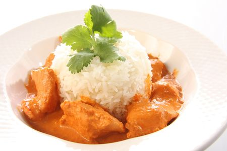 chicken rice: Indian butter chicken on rice.