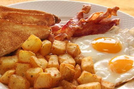 Breakfast of eggs, bacon, toast and hash browns. Also available with sausage instead of bacon.  Stock Photo