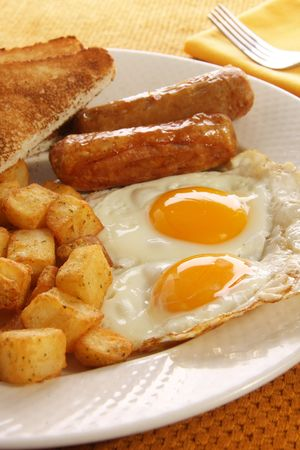 Breakfast of eggs, sausages, toast and hash browns. Also available in horizontal.