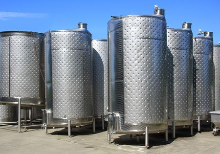 fermentation: Fermentation tanks at a winery.