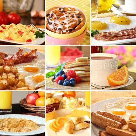 huevos fritos: Collage de im�genes de desayuno hermoso.