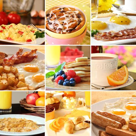 scrambled: Collage of beautiful breakfast images.