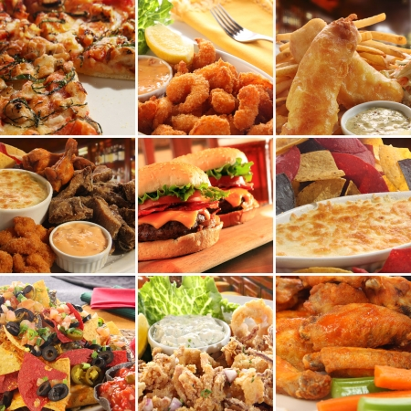 Collage of pub food including cheese burgers, wings, nachos, fries, pizza, ribs, deep fried prawns and calamari.  photo