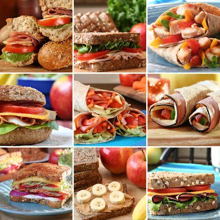 sandwich de pollo: Collage de s�ndwiches de sabrosas nutritivos y coloridos.  Foto de archivo