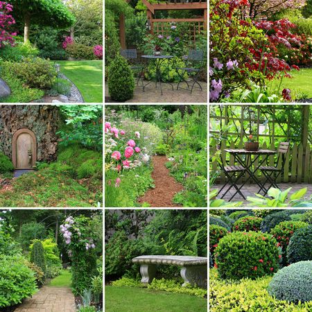 garden furniture: Collage of beautiful gardens in spring.  Stock Photo