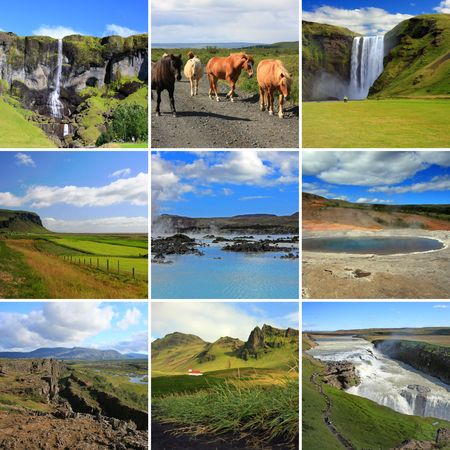 Composite of some of Icelands most famous tourist attractions including the blue lagoon, the Strokkur geyser and the skogarfoss and gullfoss waterfalls.