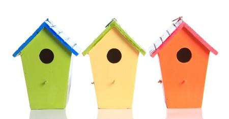 カラフルな鳥の家は、白で隔離されます。