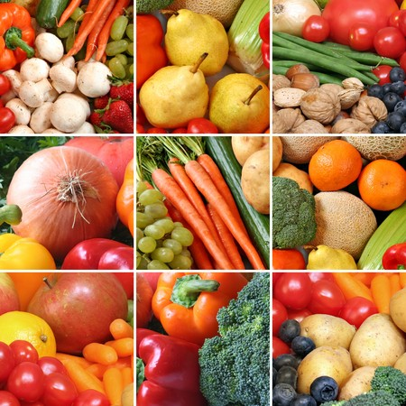 Collage of healthy fruits and vegetables