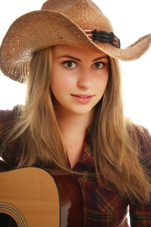 Cowgirl and her guitar photo