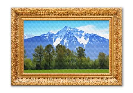 rocky mountains: Schilderij van de Rocky mountains in een antieke frame.  Stockfoto