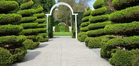 Manicured shrubs line an estate entrance.  Stock Photo