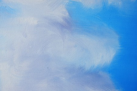 Painting close up of clouds and blue sky.