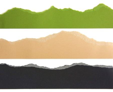 Torn paper strip borders. Banque d'images
