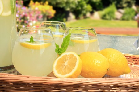 jugs: Freshly squeezed lemonade.