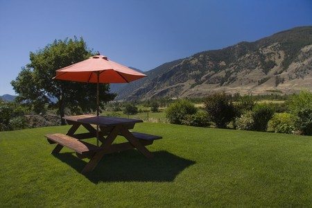 Picnic table with a view.  photo