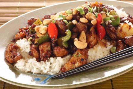 arroz chino: Kung pao pollo.