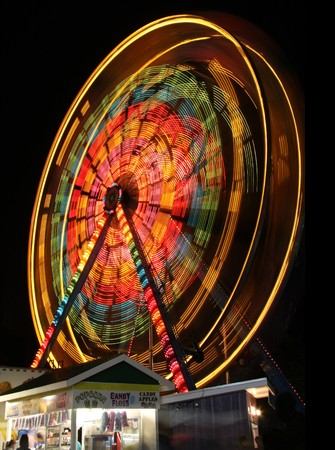 wheel spin: Ferris wheel spinning at night.