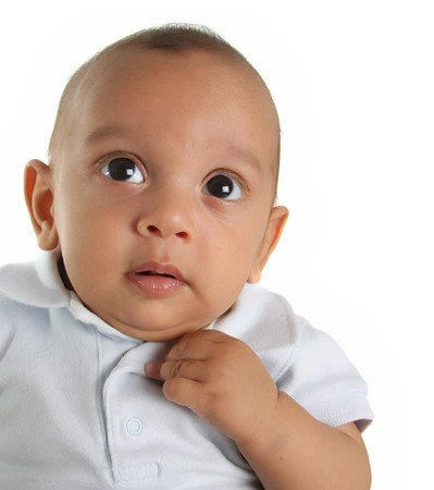 Three month old baby boy of Caucasian and Indian descent. photo