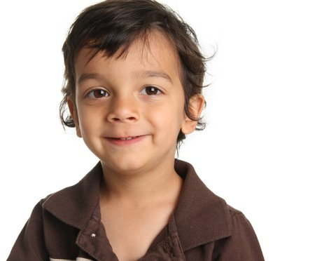 Three year old boy of Caucasian and Indian heritage. Stock Photo