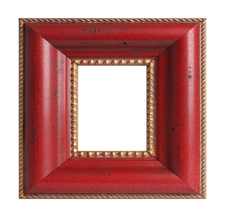 picture frame on wall: Square antique picture frame.